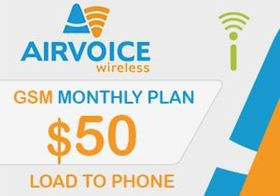 Picture of Airvoice GSM Monthly Plan $50.00 - Load To Phone