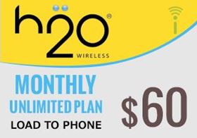 Picture of H2O Monthly Unlimited Plan $60.00 - Load To Phone