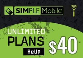 Picture of SIMPLE Mobile Unlimited Plan - $40.00 - ReUp