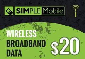 Picture of SIMPLE Mobile Wireless Broadband Data $20.00