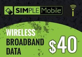 Picture of SIMPLE Mobile Wireless Broadband Data $40.00
