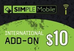 Picture of Simple Mobile International Add-On $10.00